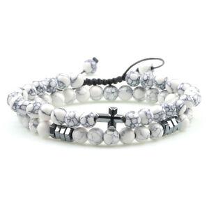 2er Set Armband Kreuz Yoga Perlen Weiß Marmor Stein Naturstein Bracelet Unisex
