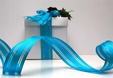 3 METRES QUALITY WIRE EDGED RIBBON AQUA BLUE CHRISTMAS GIFT WRAPPING 'AZURE'