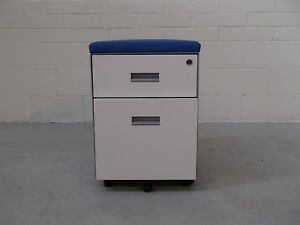Office Steelcase Mobile 2 Drawer Pedestals Blue Fabric White Metal 36120+36766