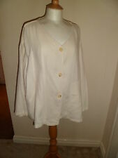 "Quirky Response of Amsterdam Lagenlook Cream 100% Linen Jacket OSFA 60"" Bust"