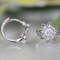 2021 Gorgeous Cubic Zircon Flower Stud Earrings Women 925 Silver Wedding Jewelry