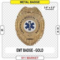 EMT Badge Eagle Top Gold color 3D Emergency Medical Technician EMS Patch -  G 54