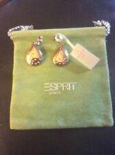 New Esprit Ladies Earrings Stainless Steel Rhodium Plated Zirconia White Round C