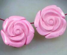 2 Large Pink Turquoise Hand-carved Rose Beads 19mm