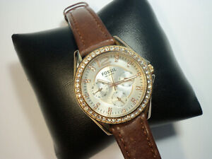Fossil ES-2810 Day Date multi function Watch rose gold tone steel case Womens