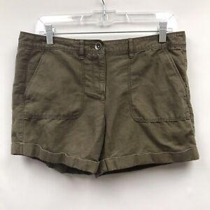 Ann Taylor Loft Womens Size 4 Shorts Green Linen Blend