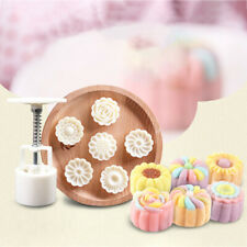 Round Flower Shape Moon Cake Pastry Mold Hand Pressure Fondant Cookies Tools NEW