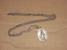 "Vintage 26"" Necklace with 1830 Blessed Virgin Silvertone Medal"