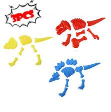 Set of 3 Plastic Dinosaur Skeleton Sand Molds Beach Sand Box Kids Toy Fun Usa