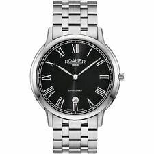 Roamer Superslender Gents Wristwatch Date/ Silver Steel Bracelet Chain 5ATM