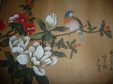 2 lot set Antique Chinese silk paintings pair birds trees flowers from China