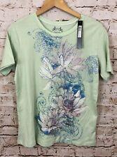 Nicole miller embellished floral print shirt top women 1X new green short slv D2