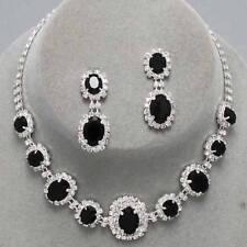 Black rhinestone crystal necklace set brides proms party fiamante sparkly 249