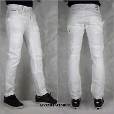Mens Peviani jeans, combat g denim pants, straight fit urban hip hop star white