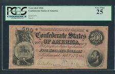 1864 $500 Confederate Note T-64 Dark Red Graded Problem Free PCGS VF 25