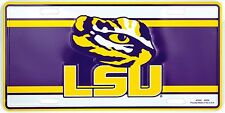 Louisiana State University LSU Tigers Purple White Metal License Plate Auto Tag