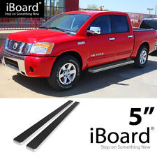 Running Board Side Step Nerf Bars 5in Silver Fit Nissan Titan Crew Cab 04-18