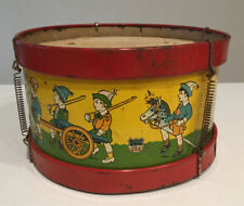 "J Chein ANTIQUE TOY TIN DRUM  8.5"" DIAMETER Boy Scouts Camp Marching Parade VTG"