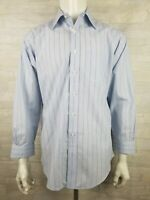 Brooks Brothers Traditional Fit Mens Fitted Dress Shirt Blue Striped 15.5-33