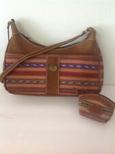 Guatemala Leather Cotton Bag With  Coin bag Multicolor Artisan Designer Fashion