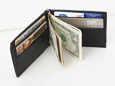 Black Genuine Leather BiFold Spring Money Clip Slim Plain Card Men's Wallet