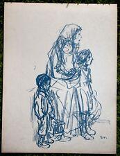 Lithographie - Steinlen - Veuve et enfants - Guerre 14-18-