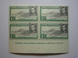 ASCENSION ISLAND. 1938 1d BLACK & GREEN IMPRINT BLOCK FINE MNH/LMM SG39d