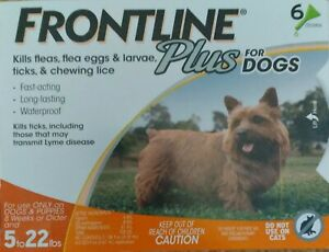 FRONTLINE PLUS DOGS 5-22Lbs FLEA & TICK CONTROL 6 DOSES NEW, SEALED