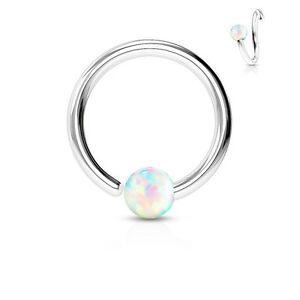 1pc Fixed Synthetic Opal Ball Annealed Steel Captive Bead Ring Body Jewelry