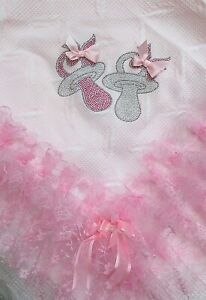 ROMANY BABY GIRL PINK SHAWL - PINK LACE WITH BLING DUMMY DESIGN - GORGEOUS!!