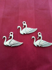 8 pcs Twin GOOSE charm Tibet silver Charms Pendants DIY Jewellery Making