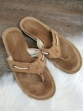 Women's Size 10 Sperry Thick Strap Brown Tan Flip Flops