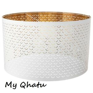 """Ikea NYMO Lamp Perforated Shade White / Brass color 23"""" New"""