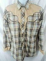 Vintage Ely Plains Mens Shirt Plaid Tan Western Pearl Snap Rockabilly 15 1/2 33