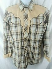 Vintage Ely Plains Mens Shirt Plaid Tan Western Pearl Snap Rockabilly 15 1/2 33