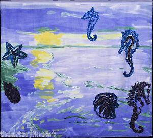 KAREN KILIMNIK 'Seahorses, Star Fish', 2009 Limited Edition HUGE Beach Towel NWT