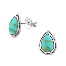 925 Sterling Silver Teardrop Oxidised Turquoise Shell Silver Stud Earrings