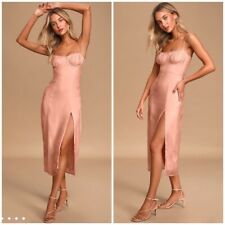 Revolve CAPULET June Pink Bustier Midi Dress Size Large $176 STILL IN STORES!