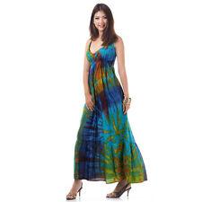 Batik Tunika Hippie Kleid Maxikleid Sommerkleid Strandkleid Blau 36 38 40 42