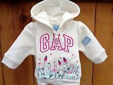 New! Baby Gap Girl Floral Arch Logo Ivory Hoodie Sweatshirt Girls SZ 0-3 M cozy