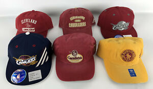 Lot of 6 Cleveland Cavaliers Baseball Hat adidas Red Gold Blue 210 Hardwood