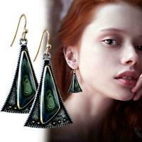 1 Paar Zarte Farbige Glas Ohrringe Frauen Kreative Ohrringe O7M7 Dreieck Se O4W0