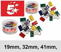 19/32/41mm Foldback Metal Paper Clips File Binder Clip Assorted Colour UK Seller