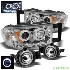 For 02-05 Dodge Ram LED Projector Headlights+Halo Pro Fog Lamp+Switch+Bulb