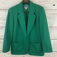 Pendleton Womens sz 10 Green Blazer Vtg 100% Virgin Wool