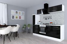 Küchenzeile Küche Küchenblock Einbauküche Hochglanz 240 cm Weiß Schwarz respekta