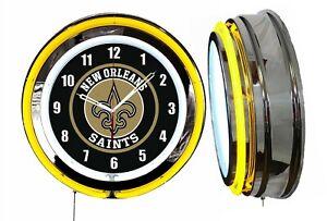 "New Orleans Saints 19"" Yellow Neon Clock Man Cave Game Room Garage Bar Football"