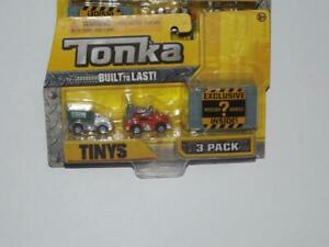 TONKA BUILT TO LAST TINYS 3 PACK WITH EXCLUSIVE MYSTERY ? VEHICLE INSIDE!