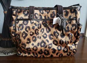 NWT COACH Ocelot Purse Leopard Weekend Tote Diaper Bag Multifunction 21306 disc.