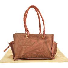 100% Authentic LOEWE Logos Shoulder Tote Bag Pink Suede Leather Vintage V07043